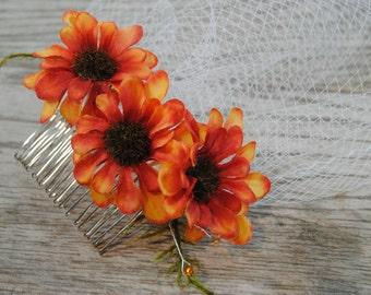 Orange Birdcage Veil - Floral Birdcage Veil - Fall Birdcage Veil -  Short Wedding Veil - Orange Bridal Veil - Orange Bridal Headpiece