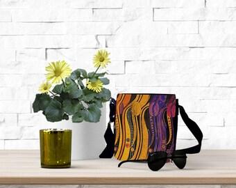 Bohemian Canvas Bag - Hippie Crossbody Bag - Everyday Bag - Waist Bag - Woman Hip Pouch - Small Bag Cross Body - Canvas Messenger Bag