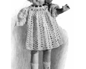 Vintage Shirley Temple Crochet Doll Dress Pattern - 3 Sizes - 16 Inch 18 Inch and 20 Inch  PDF Instant Download