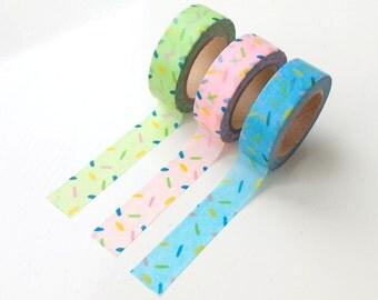 Set of 3 sprinkles washi tapes, green, pink & blue