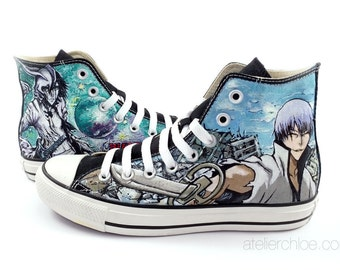 Custom painted converse manga anime shoes manga Bleach on sneakers anime or other theme on converse gift for woman gift for men unique gift