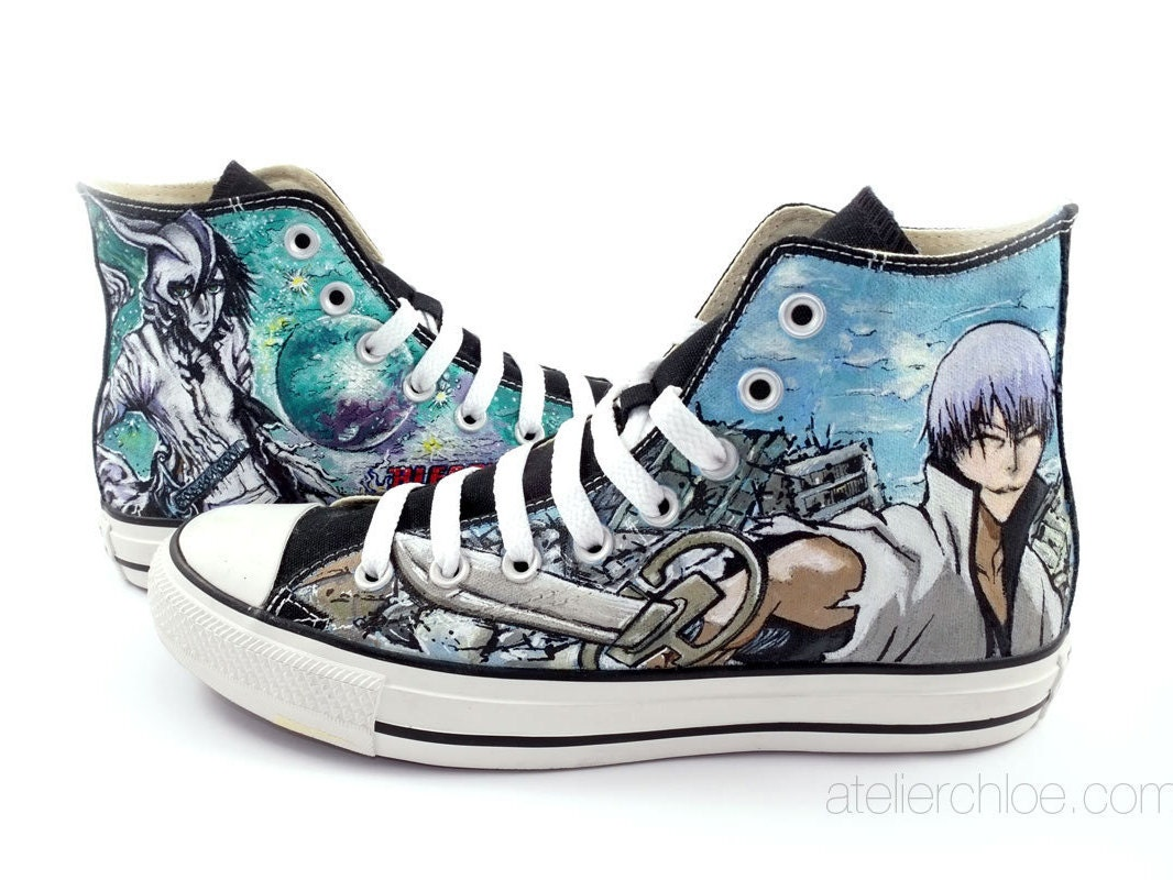 Custom painted converse manga anime shoes manga Bleach on