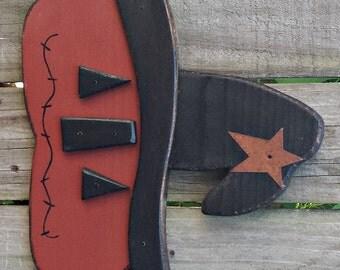 Whimsical Primitive Folk Art Style Jack O Lantern - Handmade - Wall Hanging - FAAP, HAFAIR, OFG, TeamHaHa