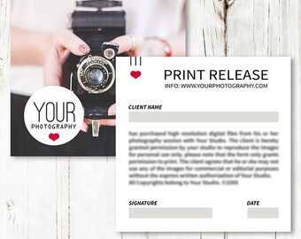5x5 Print Release Form - Print Release Card Template - Photography Business Forms - Photoshop Template - SF009 - INSTANT DOWNLOAD