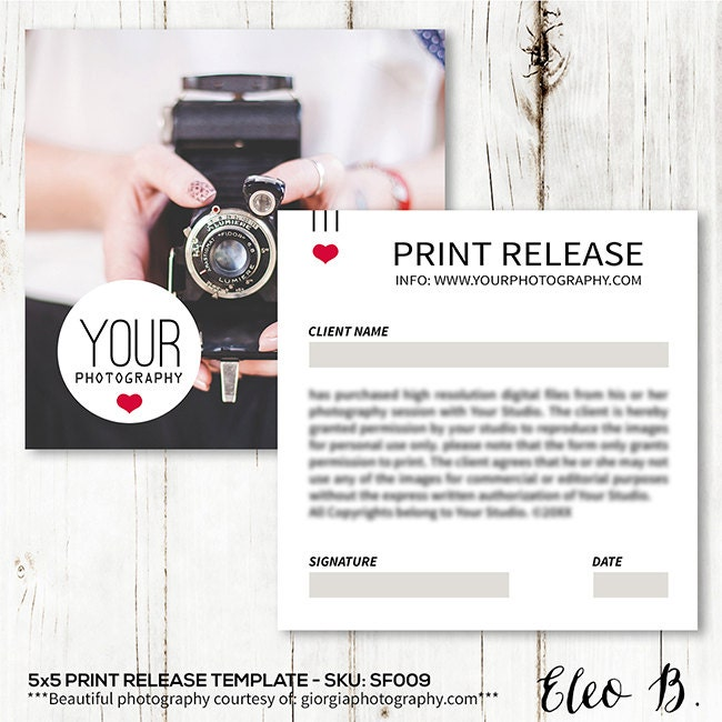Copyright release – Photography Copyright Release Form