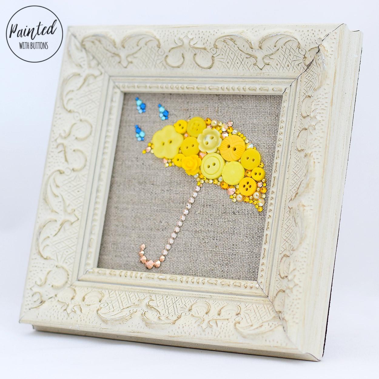 Custom framed button art umbrella wall art mudroom decor zoom amipublicfo Gallery
