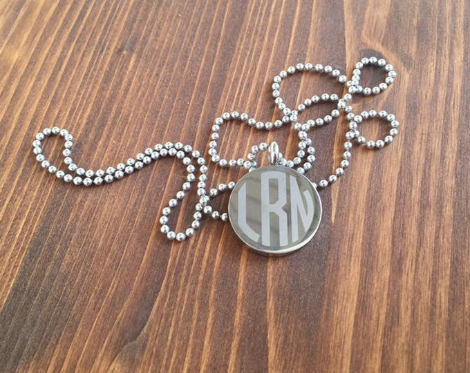 Engraved 3 Letter Circle Monogram Stainless Steel Disc Necklace