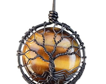 Tiger Eye Tree of Life Pendant Mini
