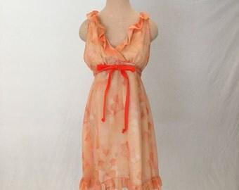 Vintage chiffon babydoll nightie 60s 1960s nightgown women L sheer negligee trapeze mini short sleeveless empire waist ruffle 50s lingerie