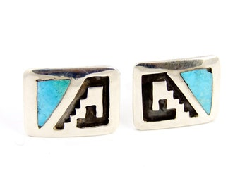 Vintage Navajo Turquoise and Sterling Silver Cuff Links