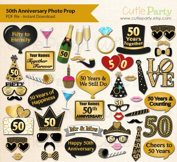 50th Anniversary Party Photo Booth Prop Fiftieth Wedding