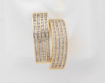 1.00 Carat T.W. Round Cut Diamond Cluster Earrings 10K Yellow Gold