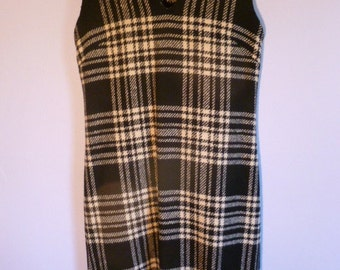 Vintage Wool Plaid Shift Dress Black & White Sleeveless Tailored by Sloat and Co. New York City