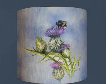 Bee On Thistle Lampshade/Lamp By Artist Grace Scott