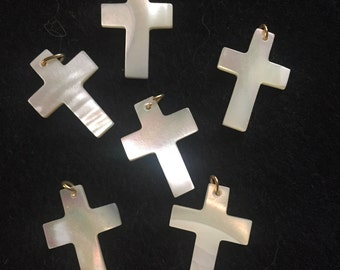 Markdown-Dainty Mother Of Pearl Cross Pendant