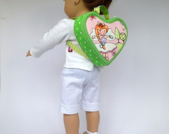"American Girl Green Backpack - American Girl Accessories. Doll Accessories for 18"" dolls like Maplelea. American Girl Backpack"