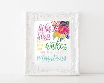 Let Her Sleep Printable Art / typography art print, printable nursery art, girls wall art, gift, digital file pink Christian art print