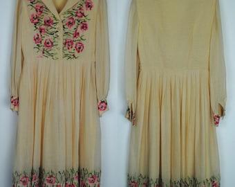 Vintage 40's Cross Stitch Day Dress - 1940's Casual Day Dress