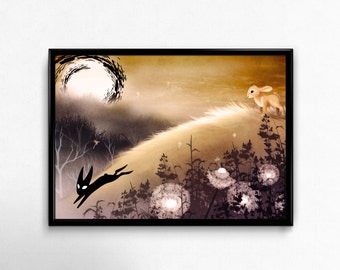 PRINT. Watership Down black rabbit of inle illustration. Peaceful surreal landscape. Glossy paper. Handsigned. Letter size print