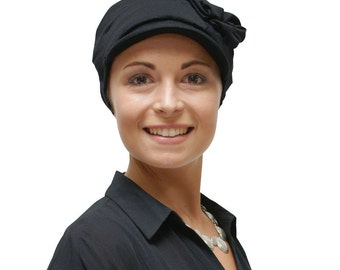 Womens chemo black newsboy hat | stylish chemo headwear | soft chemotherapy hats | turbans for cancer patients - available in all sizes