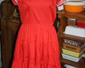 Vintage Kate Shorer Red and White Square Dancing Rockabilly Dress
