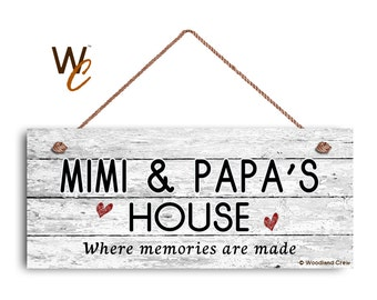 """ON SALE MIMI and Papa'S House Sign, Where Memories Are Made, Distressed Style, Gift For Grandparents, Indoor Outdoor 6"""" x 14"""" Sign, Made To"""