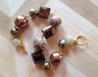 Brown Beaded Bracelet, Beadwork Bracelet, Brown Bracelet,Gift For Her