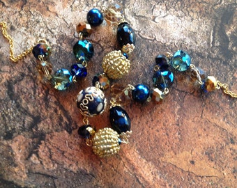 Blue Beaded Necklace, Statement Necklace, Glass Necklace, Blue Beadwork Necklace, Gift For Women
