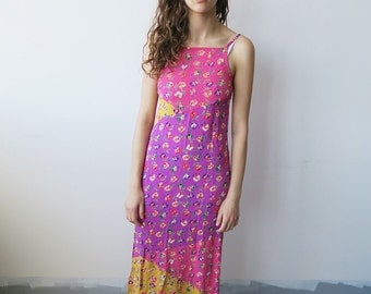 Pink and Purple Floral 90s Maxi Dress