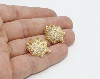 1 Pcs 24k Gold Plated Umbrella Charms, Umbrella Bracelet, Cubic Zirconia Umbrella , 20x22mm , zrcn322