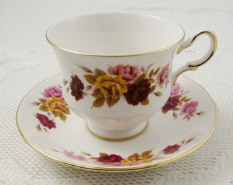 Vintage Queen Anne Tea Cup and Saucer Pink, Yellow and Red Rose, English Bone China