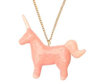 unicorno rosa portafortuna collana