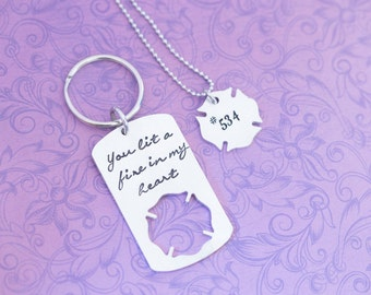 Hand Stamped Firefighter Wife Necklace and Keychain Set - Firefigher Badge - Maltese Cross