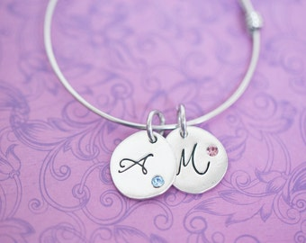 Hand Stamped Adjustable Bangle Bracelet with Pewter Round and Birthstone Crystal - Hand Stamped Jewelry