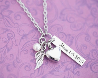 Stainless Memorial Pendant with Angel Wing - Cremation Jewelry - Engraved Jewelry - Urn Necklace - Pet Memorial - Ash Necklace
