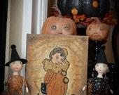SALE Halloween Folk Art Mixed Media Original Acrylics Painting on Canvas OOAK by DCBARTSTUDIO