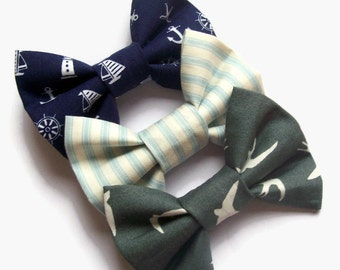 Teen Girl Gifts, Hair Bow Set of 3, Hair Clips for Girls, Nautical Bows, Teenager Gifts. Back in Stock!