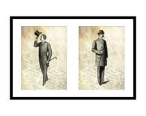 2 Dapper Gents Prints: Father's Day Gift Idea - Printable Victorian Wall Art - Print Download - Top Hat - Bowler Hat - Gentleman - Mens Gift