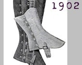 Gaiter or Spats for Horse or Bicycle Riders - Edwardian Reproduction PDF Pattern - 1900's -  made from original 1902 La Mode pattern