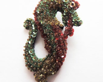 Vintage Hand Made Beaded and Sequin Brooch/Pin Dragon 1930