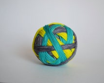 "Dyed to Order: ""Surf's Up (self-striping)"" - Aqua, Gray, Bright Yellow"