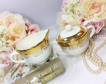 22 kt Gold Handpainted Ceramic Covered Sugar Bowl & Creamer for Tea Set Tea Party, Wedding, Engagement, Shower. Crest-O-Gold #A47