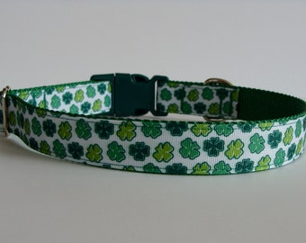"Green St. Patrick Day Shamrock - Luck of the Irish Dog Collar - 1"" Wide - READY TO SHIP!"