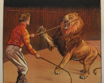 1900s French Vintage Cirque Pinder Circus Poster - Lion Tamer, G. Soury