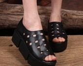Handmade Leather Platform Sandals for Women ,Summer Shoes, Hollow Sandal, Simple Black Shoes,Fisherman leather sandals peep toe sandals