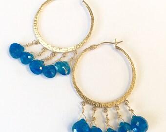 Gold Apatite Drop Earrings - FREE Shipping