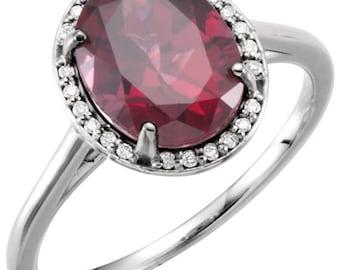 14K White Gold Diamond Natural Rhodolite Garnet Halo Style Engagement Ring 7, Set with a 2.5 Carat or 10x8 MM Oval Rhodolite Gemstone