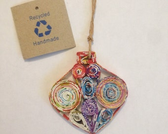 Christmas Gem Ornament, Handmade Recycled Paper Christmas Ornament, Bauble, Finial