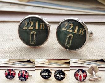 221B Baker Street cuff links, Sherlock Holmes cuff links, John Watson cufflinks, gift for gentleman