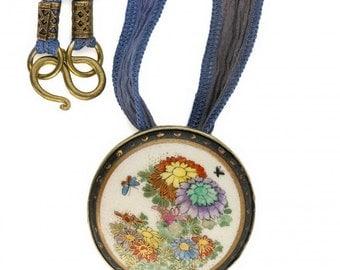 Antique Japanese Satsuma silver pendant with silk ribbon. Pdor426(e)